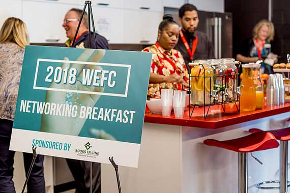 People getting breakfast at the Women's Entrepreneurship Finance Conference