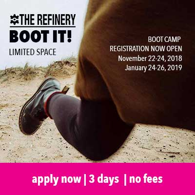 Woman's workboot running, apply for boot camp